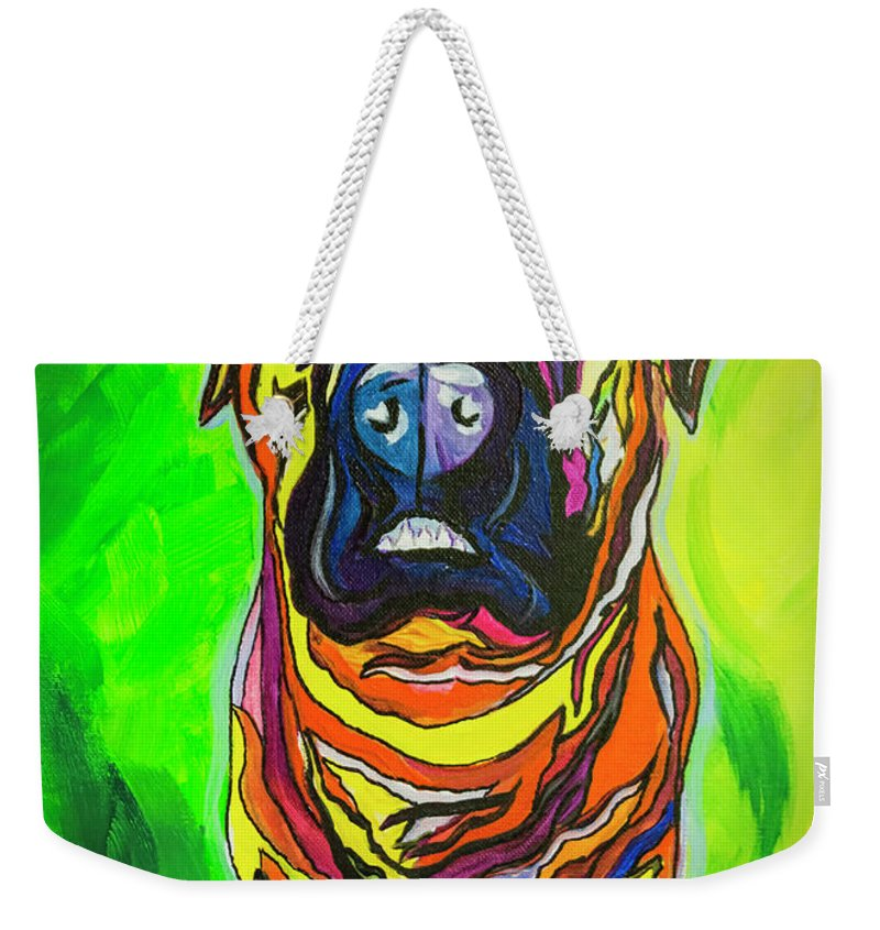 Mastiff Weekender Tote Bag featuring the painting The Abstract Mastiff by Janice Pariza