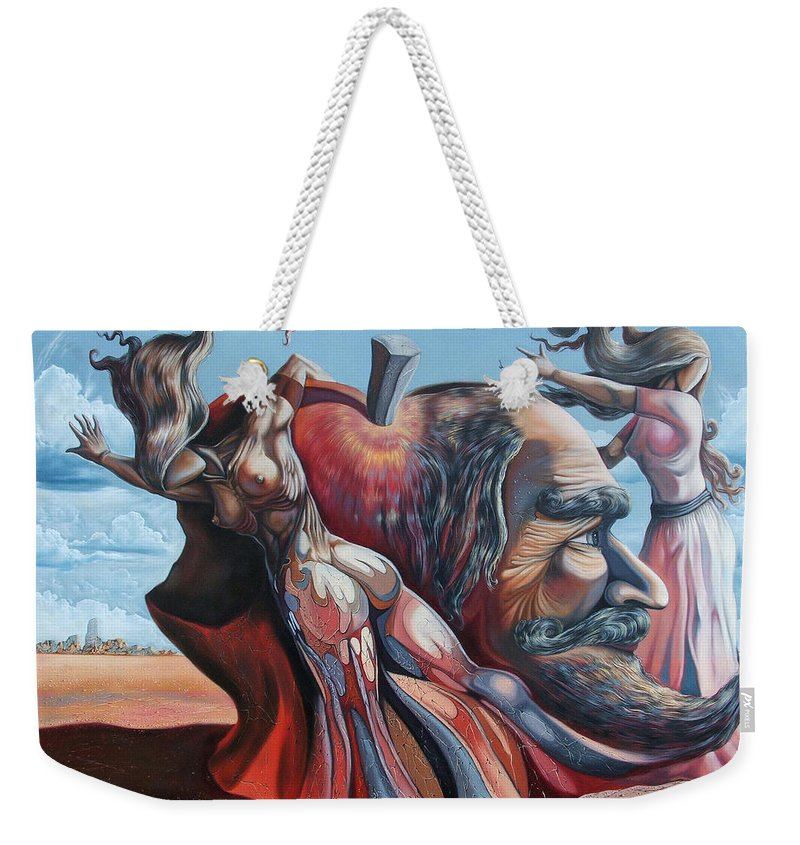 Surrealism Weekender Tote Bag featuring the painting The Adam-eve Delusion by Darwin Leon