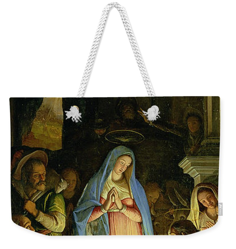 Christmas Weekender Tote Bag featuring the painting The Adoration Of The Shepherds by Federico Zuccaro