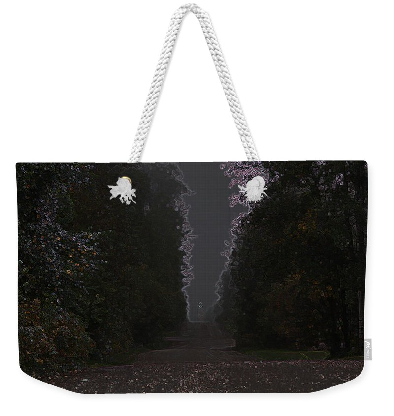 Road Ghost Boy Trees Laneway Treed Nature Colorful Leaves Plants Stones Weekender Tote Bag featuring the photograph The Adventurer by Andrea Lawrence