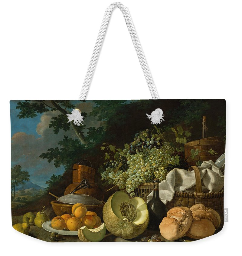 Luis Melendez Weekender Tote Bag featuring the painting The Afternoon Meal by Luis Melendez