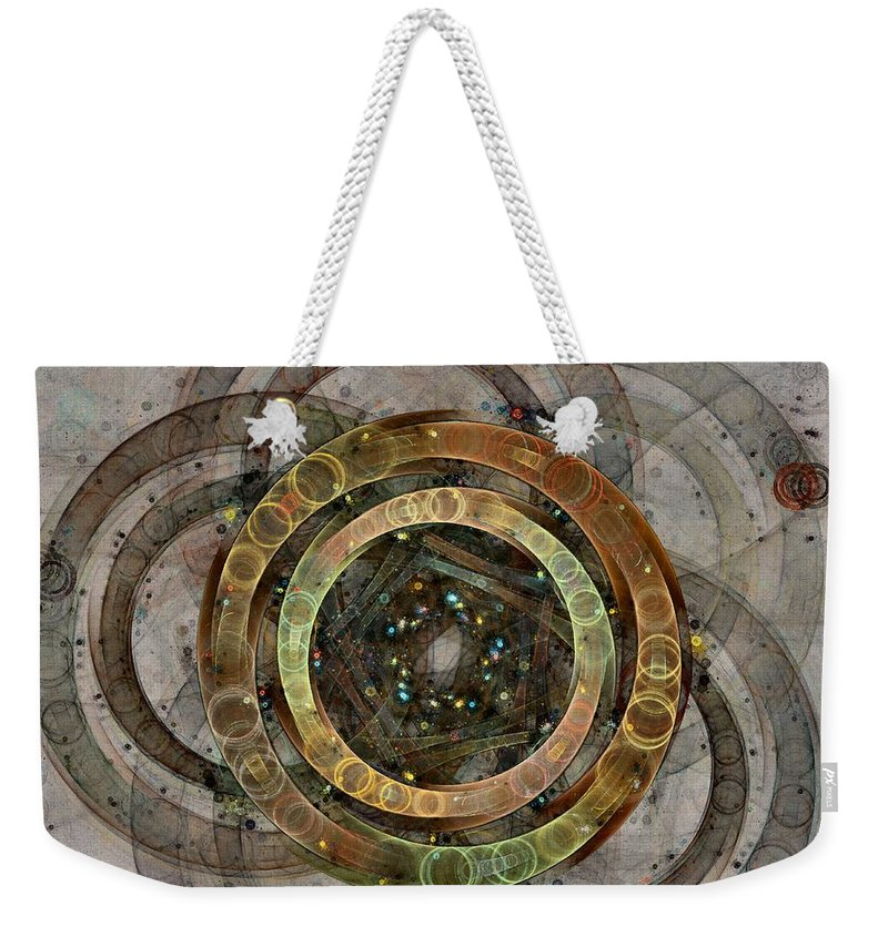 Circles Weekender Tote Bag featuring the digital art The Almagest - Homage To Ptolemy - Fractal Art by Nirvana Blues