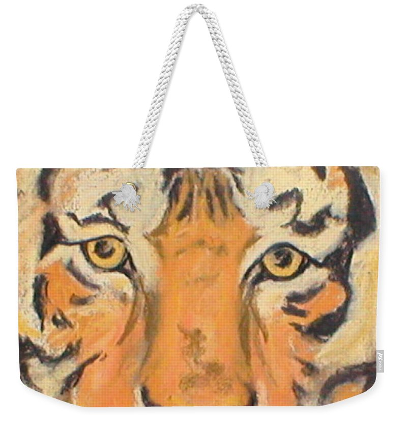 Pastel Weekender Tote Bag featuring the drawing The Amber Stare by Cori Solomon