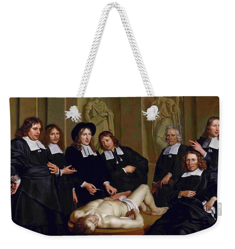Adriaen Backer Weekender Tote Bag featuring the painting The Anatomical Lesson Of Professor Frederik Ruysc by Adriaen Backer
