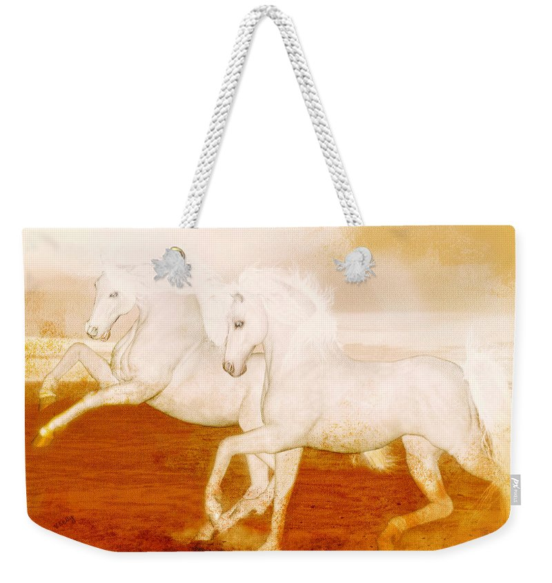 Horses Weekender Tote Bag featuring the painting The Andalusians by Valerie Anne Kelly