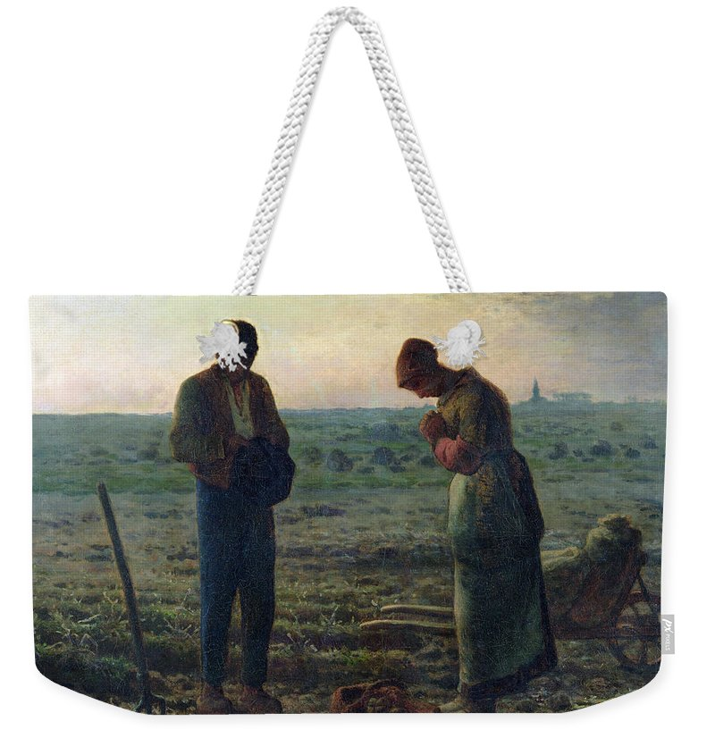 The Weekender Tote Bag featuring the painting The Angelus by Jean-Francois Millet