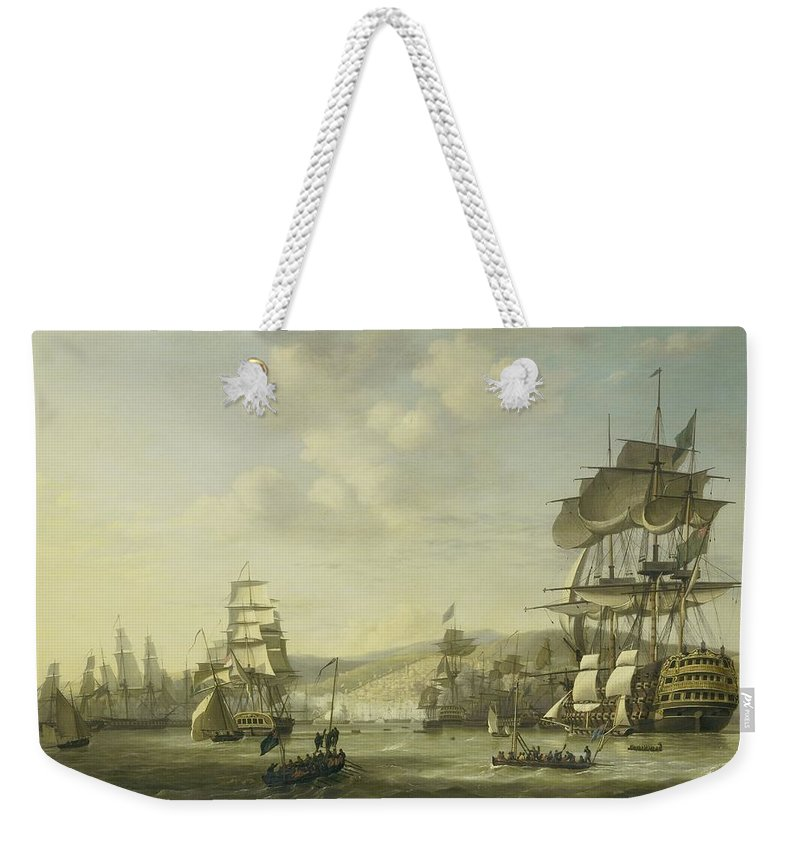 The Anglo-dutch Fleet In The Bay Of Algiers Backing Up The Ultimatum To Release The Christian Slaves Weekender Tote Bag featuring the painting The Anglo Dutch Fleet In The Bay Of Algier by R Muirhead Art