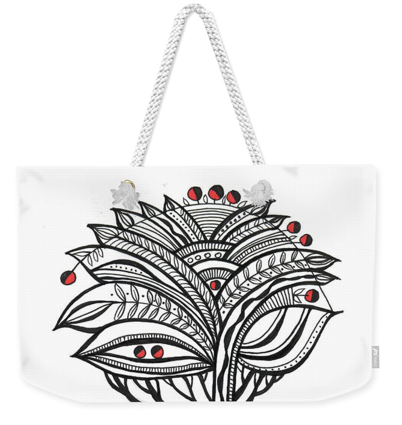 Abstract Weekender Tote Bag featuring the drawing The Apple Tree by Aniko Hencz