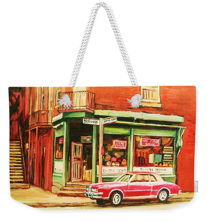 Montreal Weekender Tote Bag featuring the painting The Arcadia Five And Dime Store by Carole Spandau