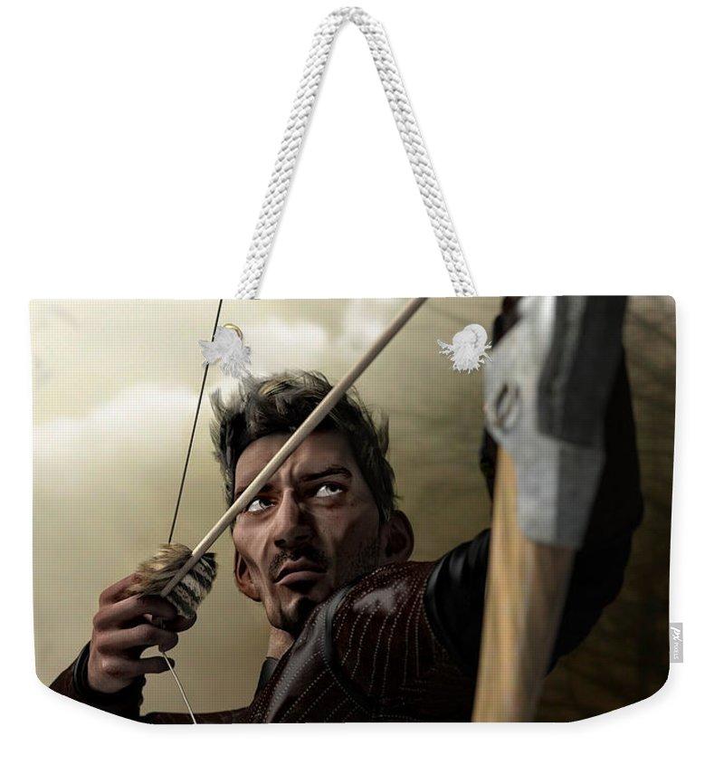 Archer Weekender Tote Bag featuring the digital art The Archer by Sandra Bauser Digital Art