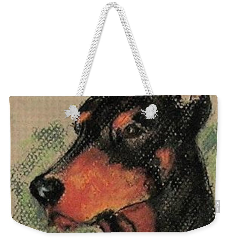 Doberman Pinscher Weekender Tote Bag featuring the drawing The Aristocrat by Cori Solomon