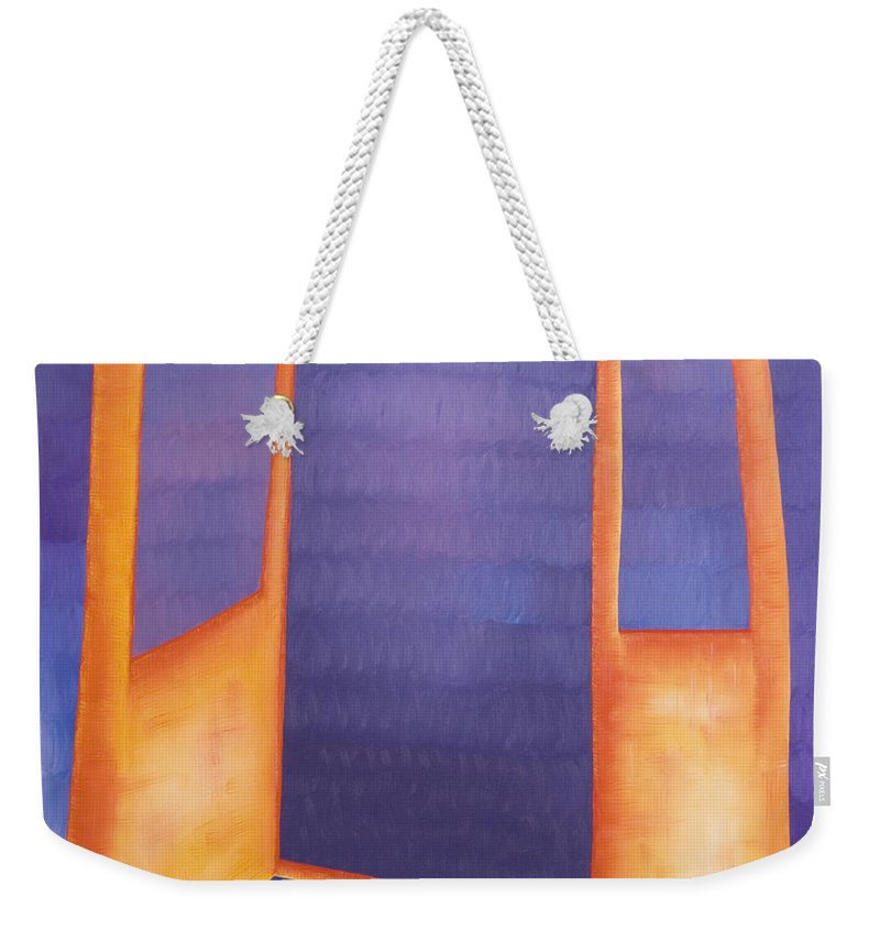 Death Weekender Tote Bag featuring the painting The Arrival by Judy Henninger