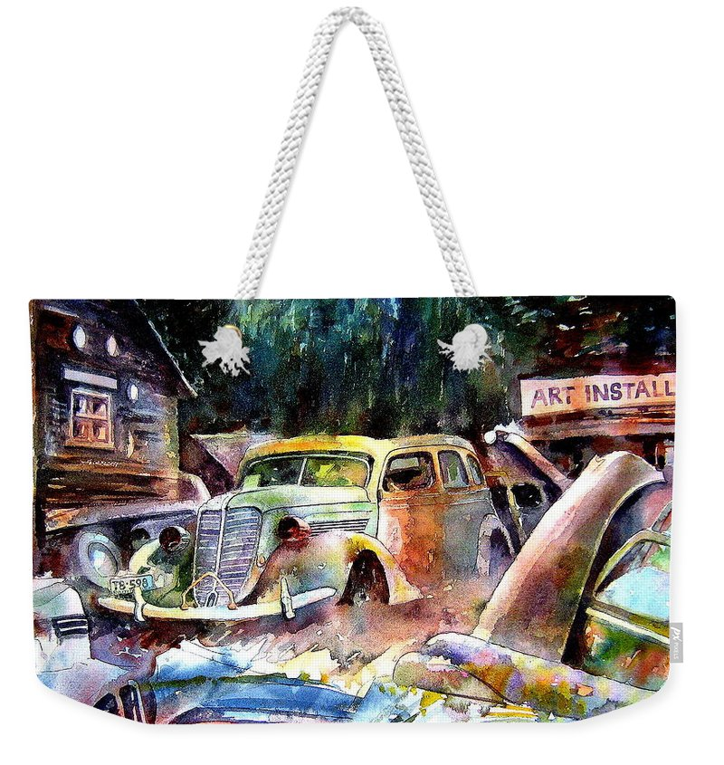 Cars Weekender Tote Bag featuring the painting The Art Installation by Ron Morrison
