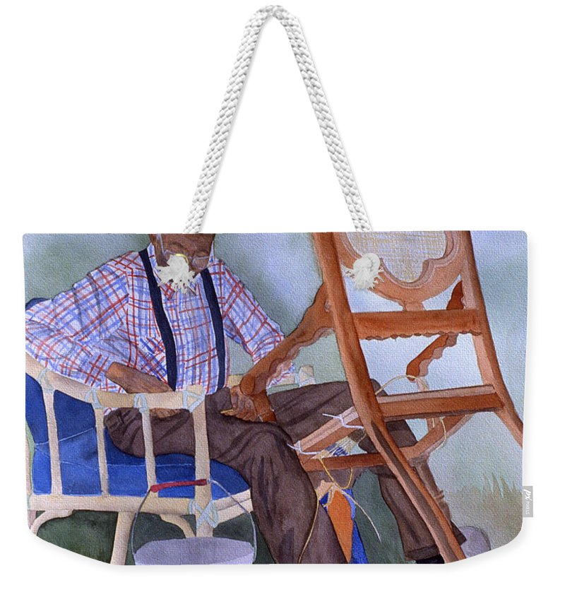 Portrait Weekender Tote Bag featuring the painting The Art Of Caning by Jean Blackmer
