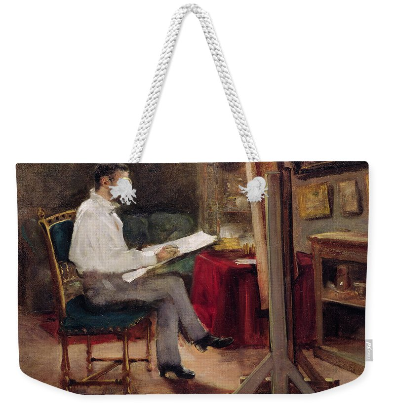 Man Weekender Tote Bag featuring the painting The Artist Morot In His Studio by Gustave Caillebotte