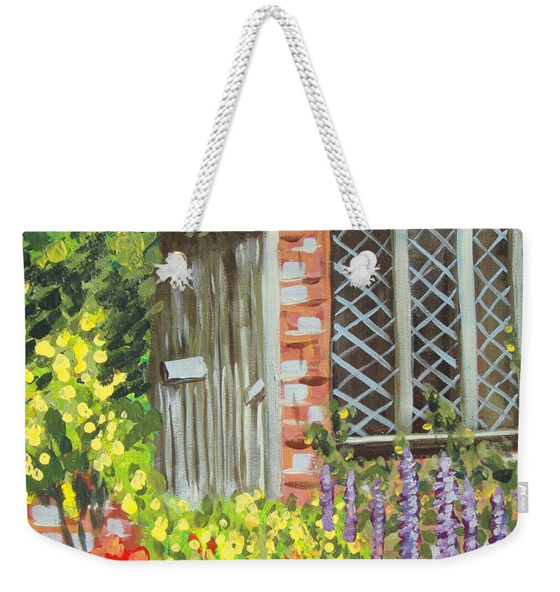 Windows Weekender Tote Bag featuring the painting The Artist's Cottage by Laurie Morgan