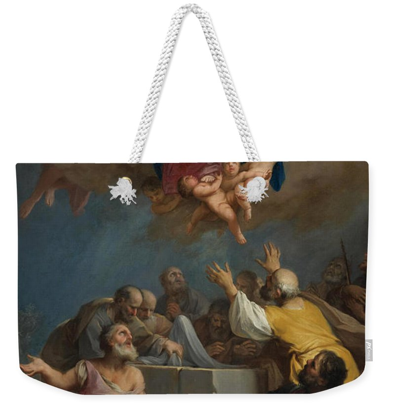 Jacopo Amigoni Weekender Tote Bag featuring the painting The Assumption Of The Virgin by Jacopo Amigoni