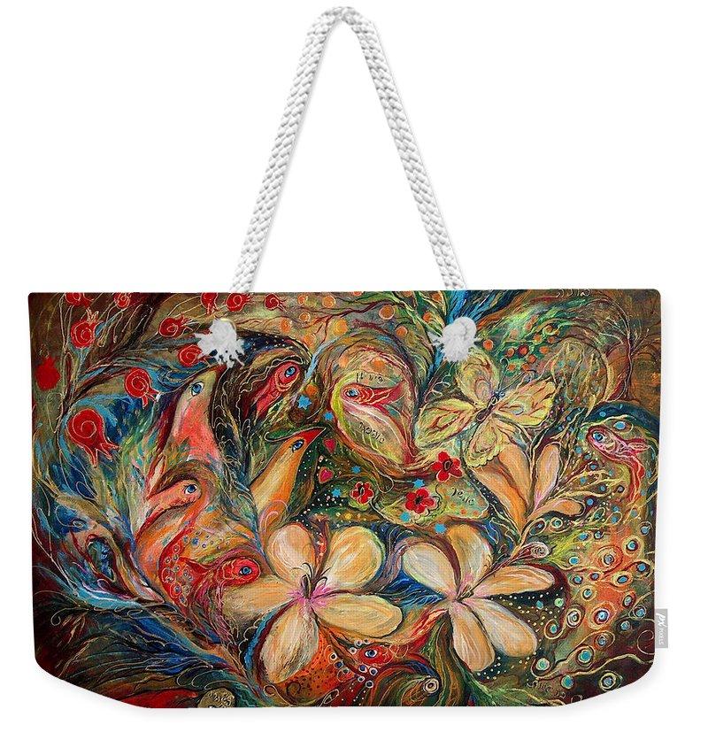 Original Weekender Tote Bag featuring the painting The Autumn Wind by Elena Kotliarker