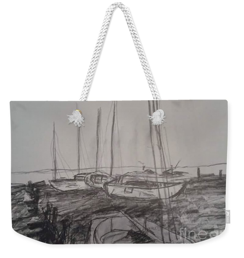 Boat's Bay Bridge Weekender Tote Bag featuring the painting The Back Bay by Tyrone Hart
