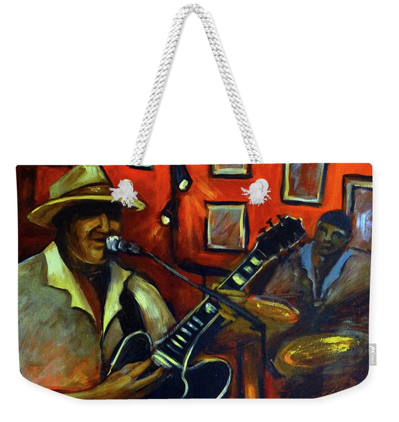 Blues Weekender Tote Bag featuring the painting The Back Room by Valerie Vescovi