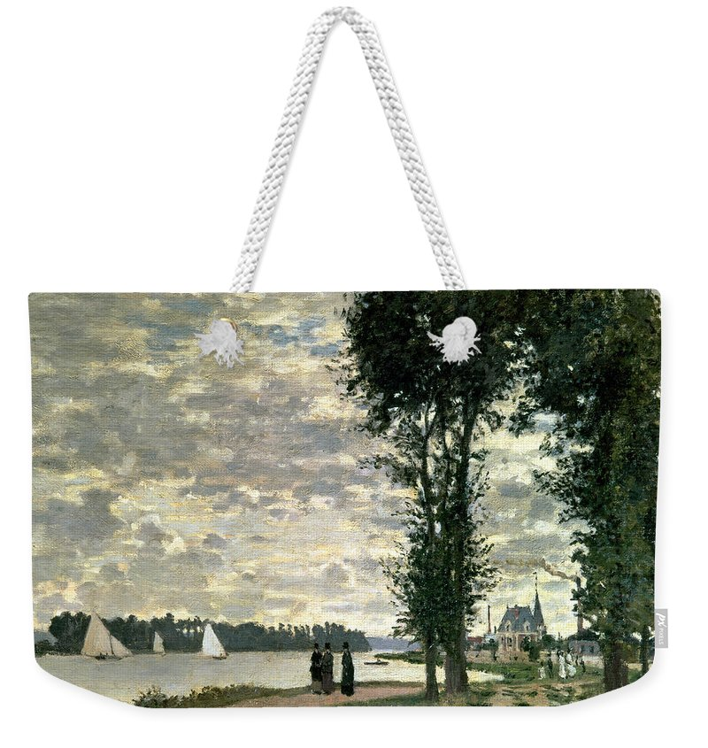 French Weekender Tote Bag featuring the painting The Banks Of The Seine At Argenteuil by Claude Monet