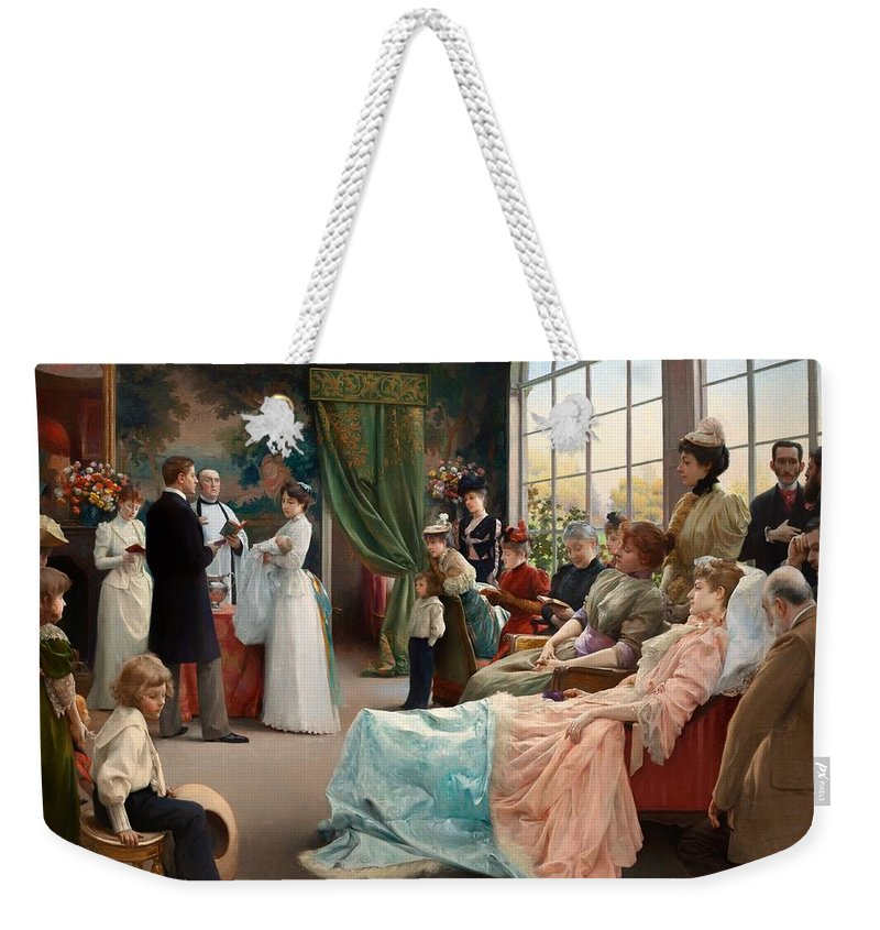 Painting Weekender Tote Bag featuring the painting The Baptism by Mountain Dreams