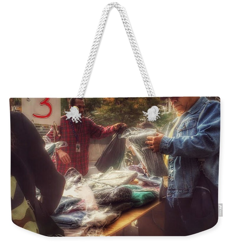 The Bargaining Table - Street Vendors Of New York Weekender Tote Bag featuring the photograph The Bargaining Table - Street Vendors Of New York by Miriam Danar