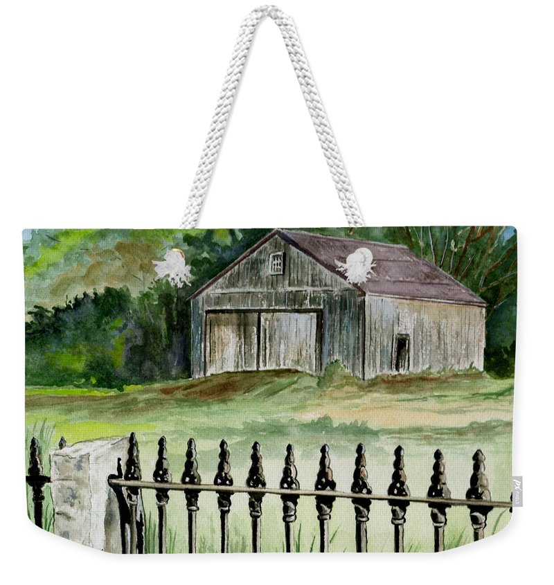 Landscape Weekender Tote Bag featuring the painting The Barn At Parsonsfield Maine by Brenda Owen