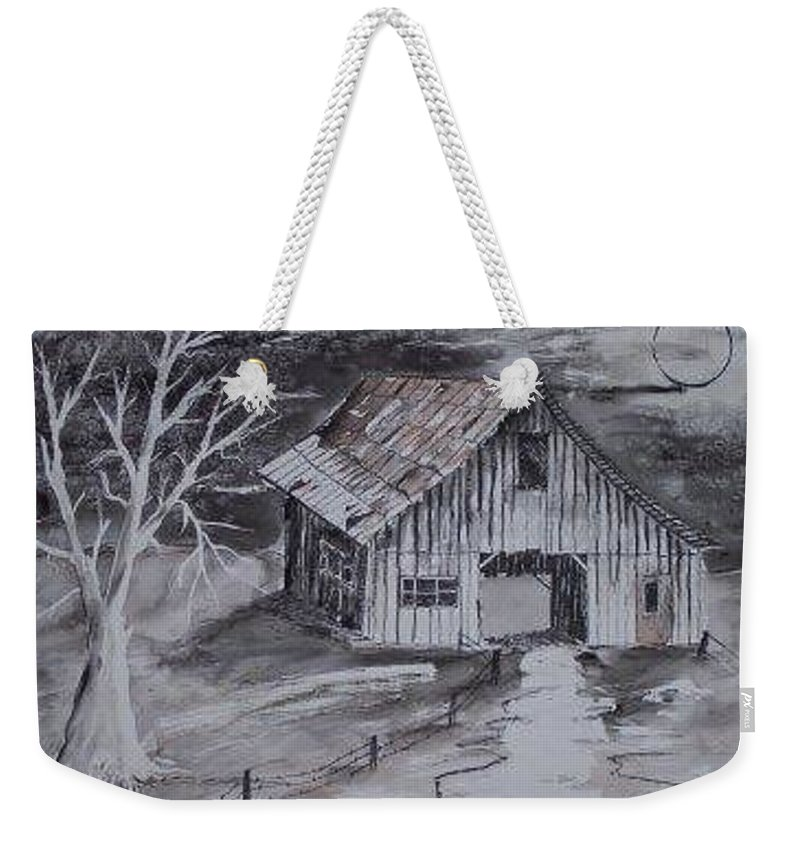 Watercolor Landscape Painting Barn Pen And Ink Painting Drawing Weekender Tote Bag featuring the painting THE BARN country pen and ink drawing by Derek Mccrea