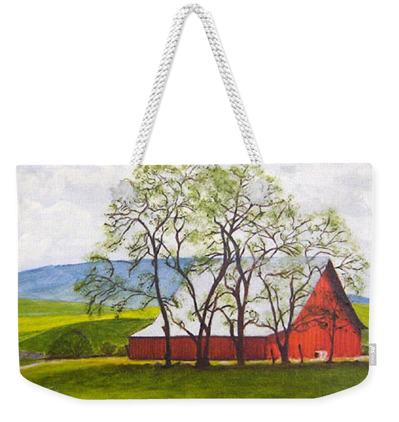 Landscape Weekender Tote Bag featuring the painting The Barn, 11x14, Oil, '07 by Lac Buffamonti
