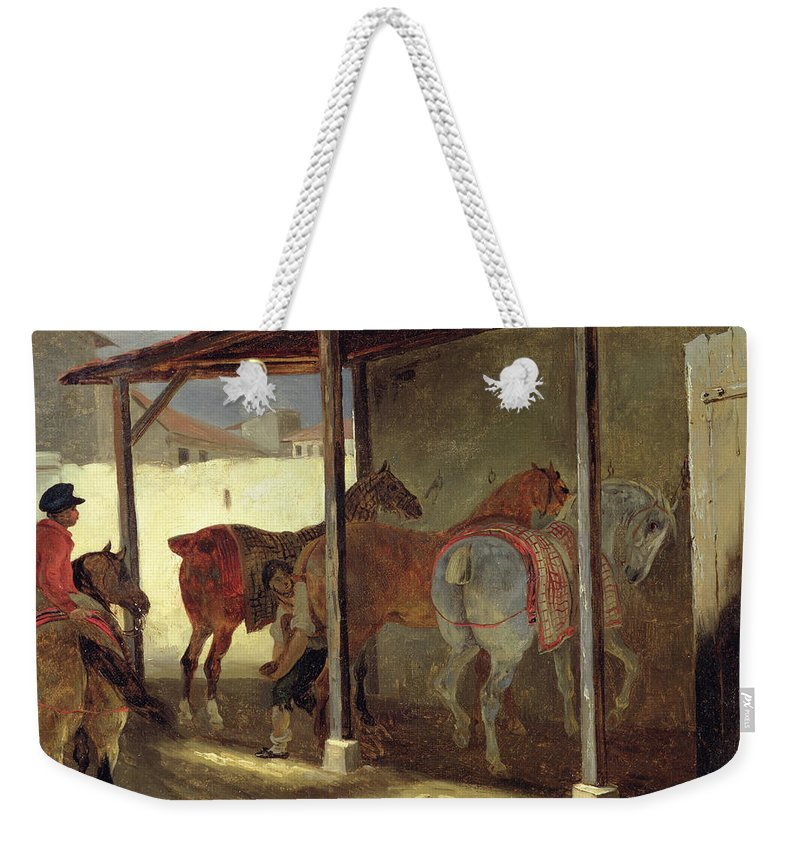 The Weekender Tote Bag featuring the painting The Barn Of Marechal-ferrant by Theodore Gericault