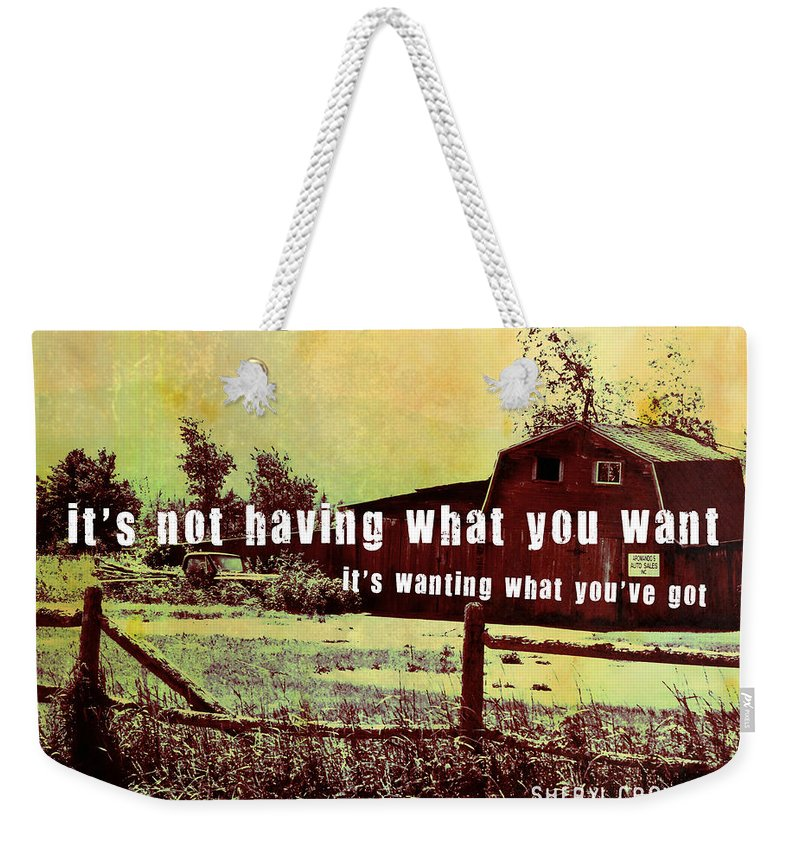 Barn Weekender Tote Bag featuring the photograph The Barn Quote by JAMART Photography