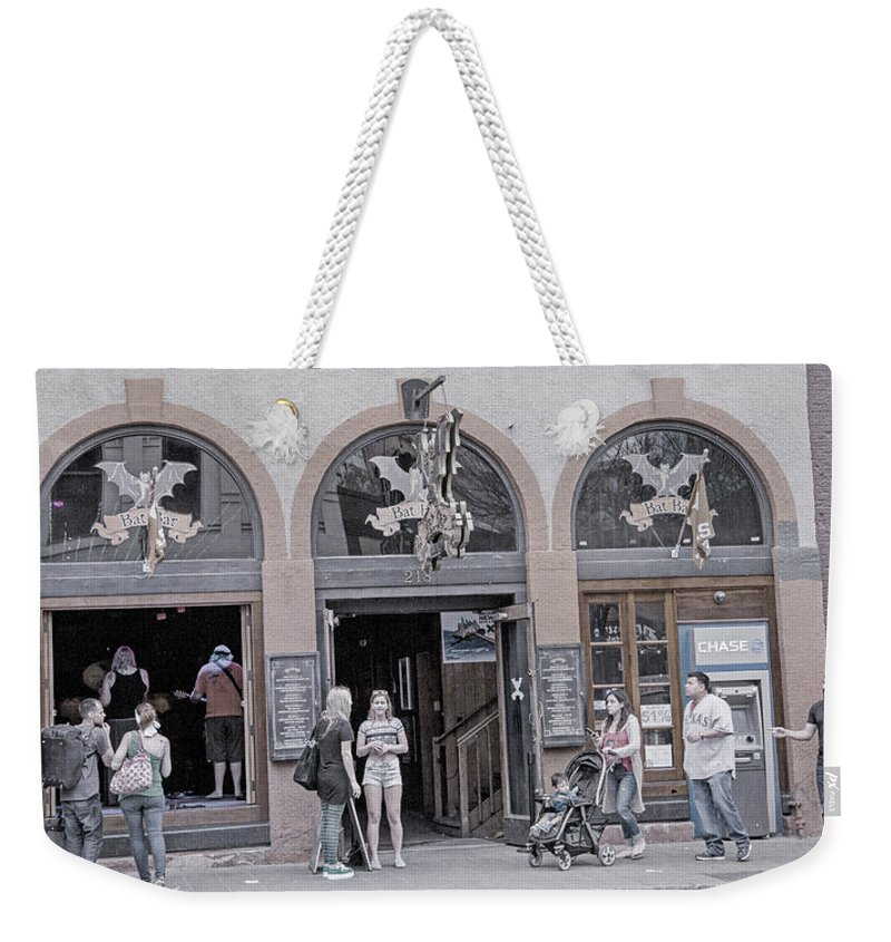 Bat Weekender Tote Bag featuring the photograph The Bat Bar Austin Texas by Betsy Knapp