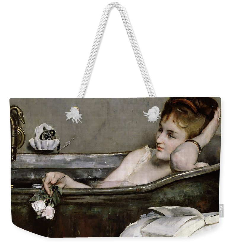 Alfred George Stevens Weekender Tote Bag featuring the painting The Bath by Alfred George Stevens