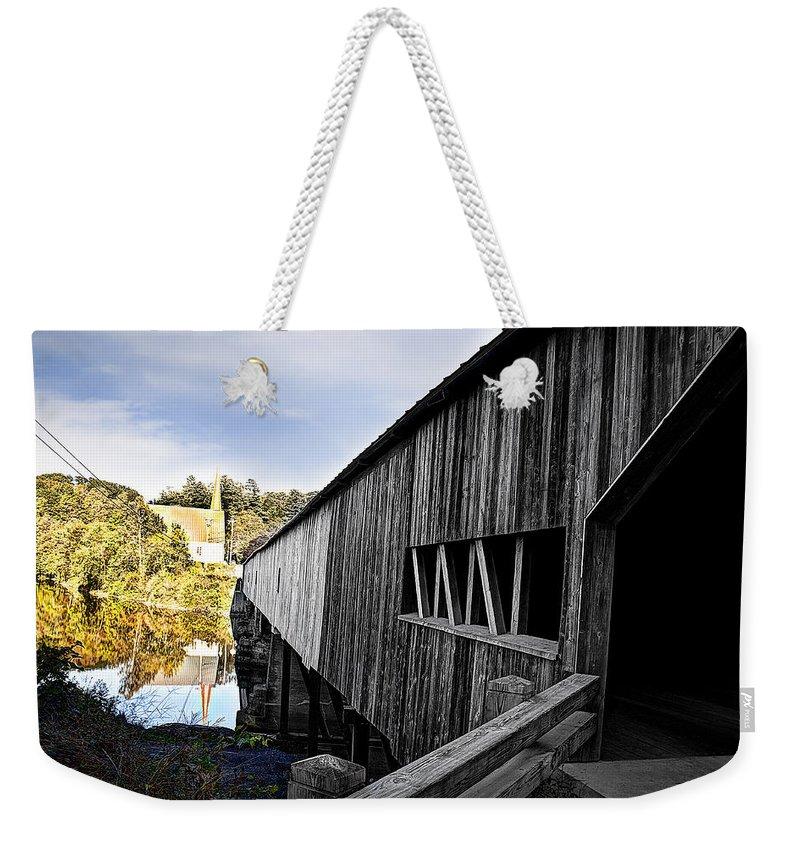 Nh Weekender Tote Bag featuring the photograph The Bath Covered Bridge by Deborah Klubertanz