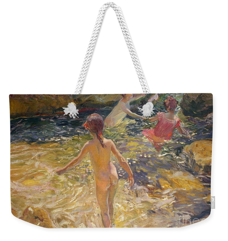 Sorolla Weekender Tote Bag featuring the painting The Bath by Joaquin Sorolla y Bastida