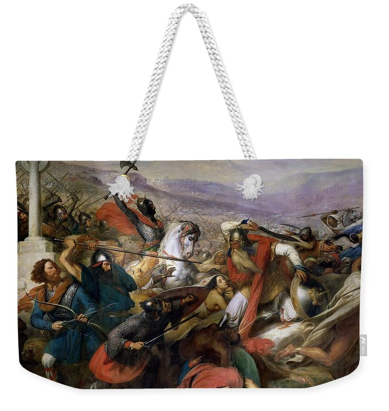 Poitiers Weekender Tote Bag featuring the painting The Battle Of Poitiers by Charles Auguste Steuben