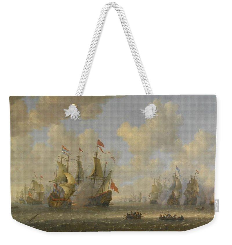 Jeronymus Van Diest The Battle Of Scheveningen Weekender Tote Bag featuring the painting The Battle Of Scheveningen by MotionAge Designs