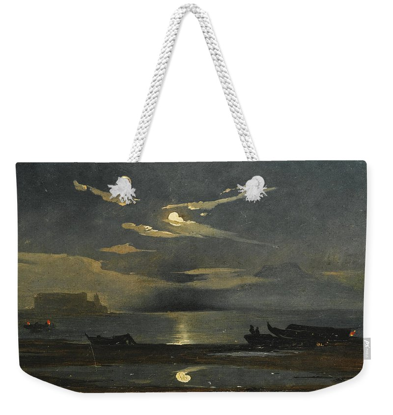 Johann Jakob Frey Weekender Tote Bag featuring the painting The Bay Of Naples By Moonlight With The Castel Dell'ovo Beyond by Johann Jakob Frey