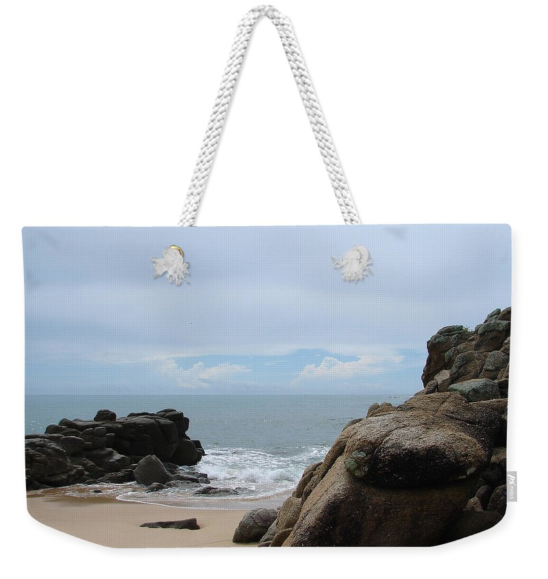 Sand Ocean Clouds Blue Sky Rocks Weekender Tote Bag featuring the photograph The Beach 2 by Luciana Seymour