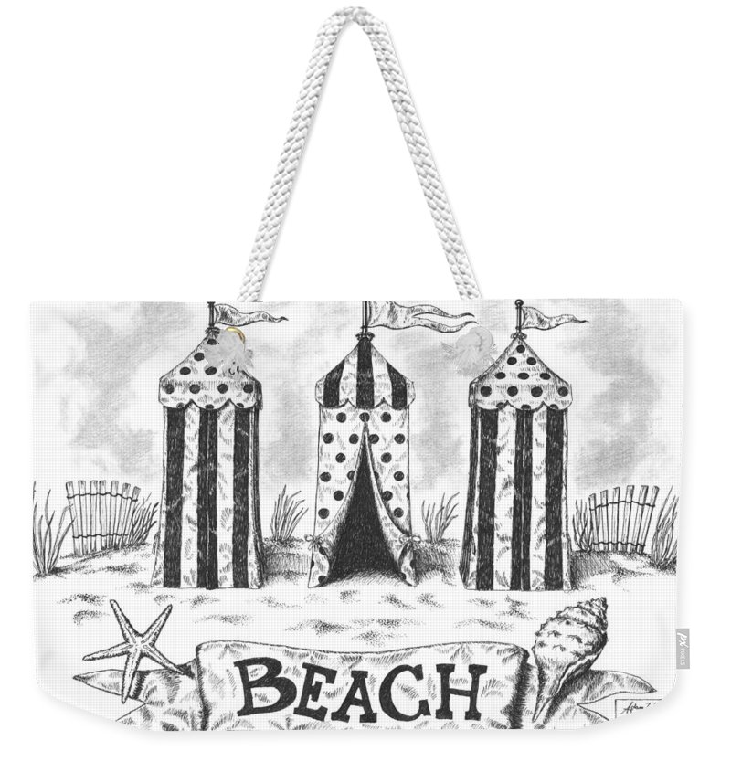 Black Weekender Tote Bag featuring the drawing The Beach by Adam Zebediah Joseph