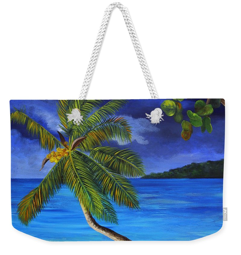 Beach Weekender Tote Bag featuring the painting The Beach At Night by Dominica Alcantara