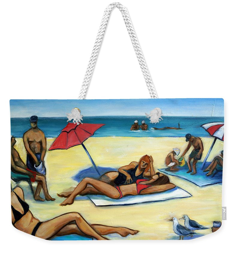 Beach Scene Weekender Tote Bag featuring the painting The Beach by Valerie Vescovi