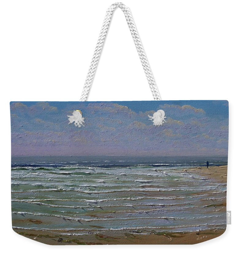 Seascape Weekender Tote Bag featuring the painting The Beachcomber by Frank Wilson