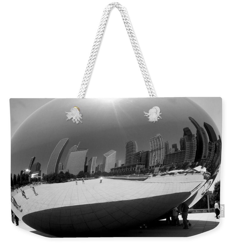 Chicago Weekender Tote Bag featuring the photograph The Bean B-w by Anita Burgermeister