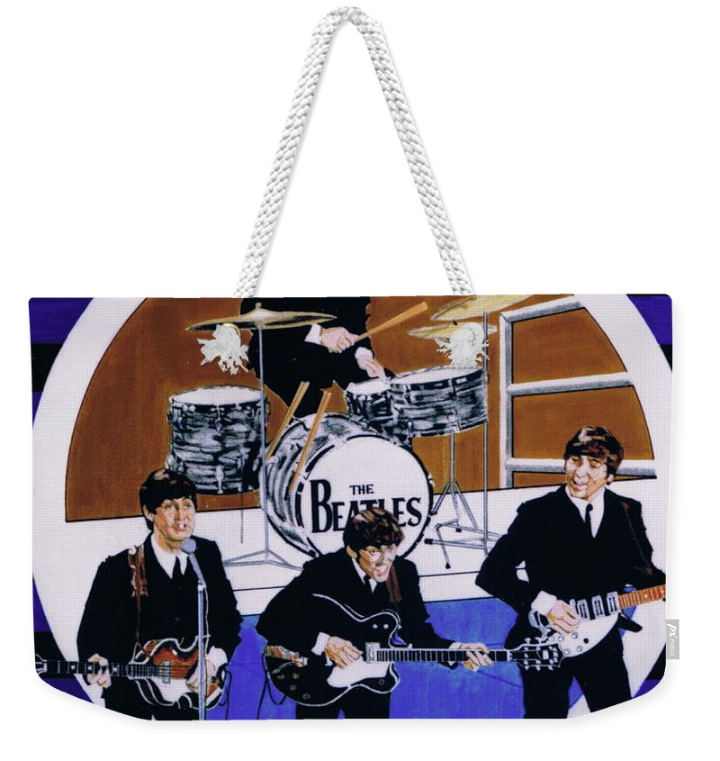 1960s Weekender Tote Bag featuring the drawing The Beatles - Live On The Ed Sullivan Show by Sean Connolly