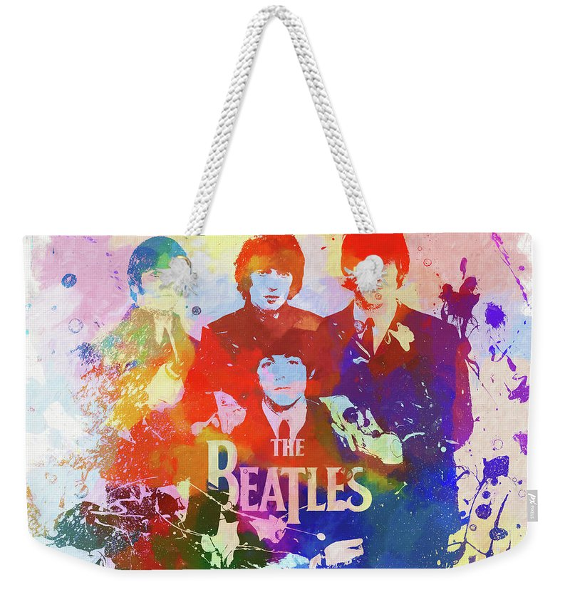 The Beatles Watercolor Weekender Tote Bag featuring the painting The Beatles Paint Splatter by Dan Sproul