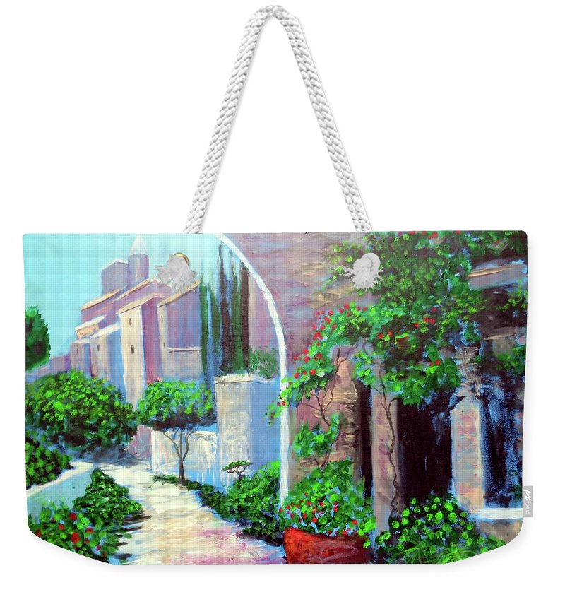 .italy Mediterranean Art Tuscany Weekender Tote Bag featuring the painting The Beautiful Way by Larry Cirigliano