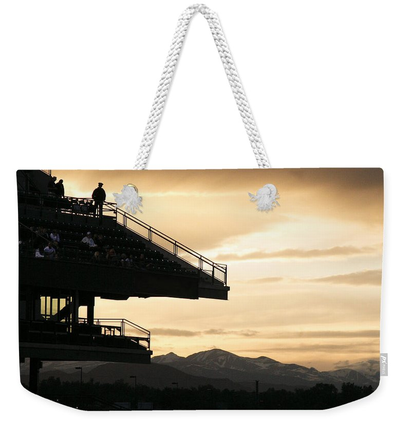 Sunset Weekender Tote Bag featuring the photograph The Beauty Of Baseball In Colorado by Marilyn Hunt