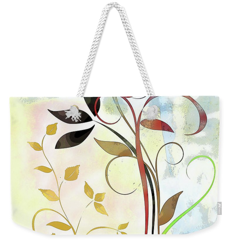 Bee Weekender Tote Bag featuring the mixed media The Bee And The Ladybug by Ruth Palmer